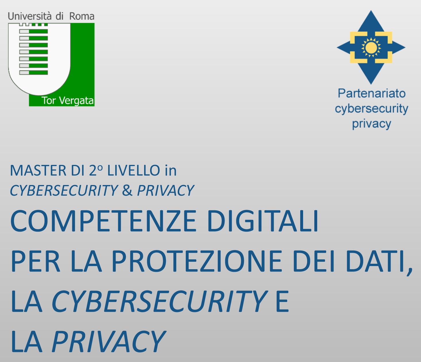 Master di 2° livello in Cybersecurity & Privacy - II edizione